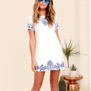 Lulu's white and blue shift dress
